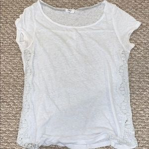 White Tee with Side Lace
